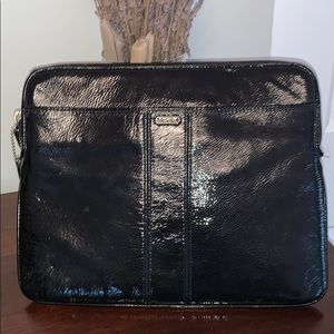 Coach black patent leather tablet case